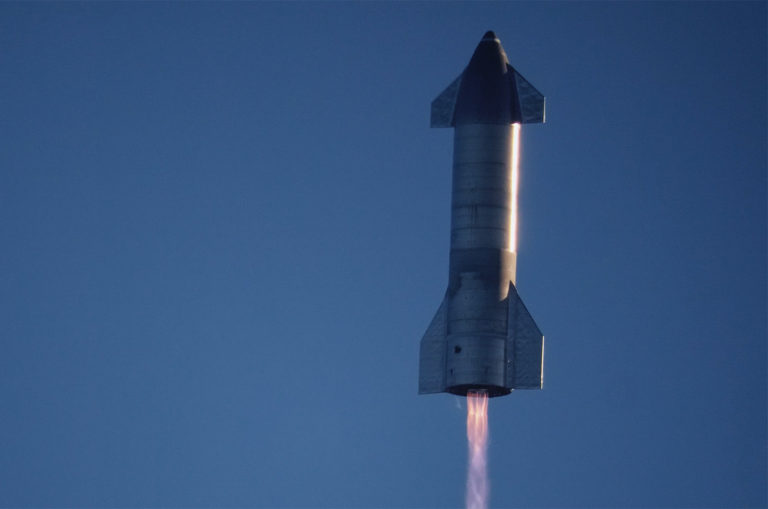 SpaceX Starship SN8 in flight