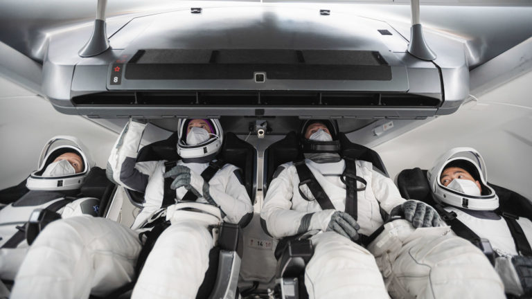 Crew2 inside the SpaceX Dragon capsule